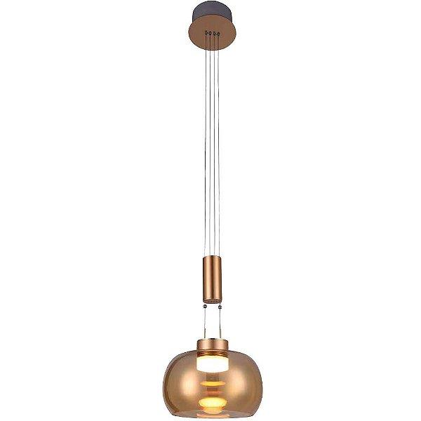 PENDENTE Bella Ilumy BB008G IOIO Suspenso Moderno Cupula Vidro 22cm x 19cm  1 x LED 8,5W FRENCH GOLD