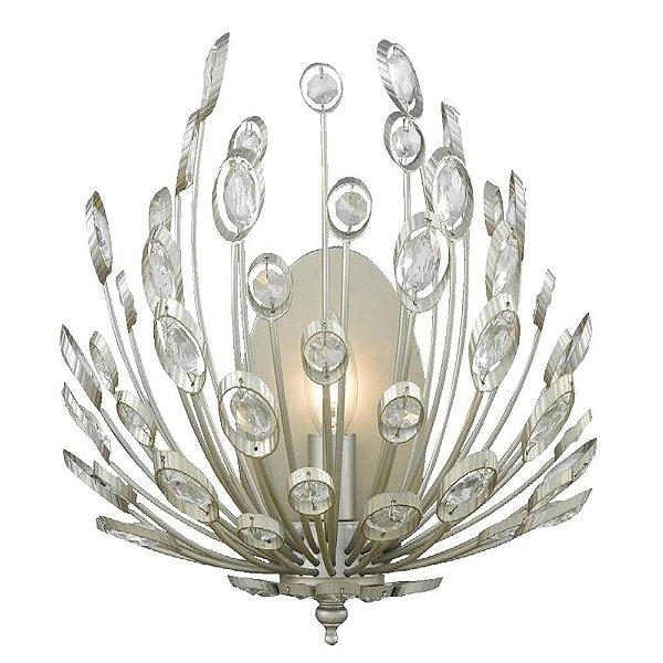 ARANDELA Bella Ilumy BO012 LORE Candelabro Floral  Prata Envelecido Transparente 30cm x 18cm x 36cm  1 x E14 40W