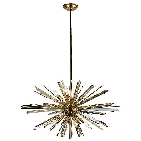 PENDENTE Bella Ilumy BO013S NIX Haste Espinhos Moderno Bronze Transparente 66cm x 38cm  6 x E14 40W