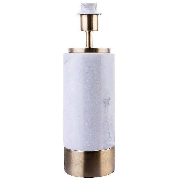 BASE PARA ABAJUR Bella Ilumy MARMO GL001GW Cilndrica Dourado Branco  12cmx39cm  1xA60 40W