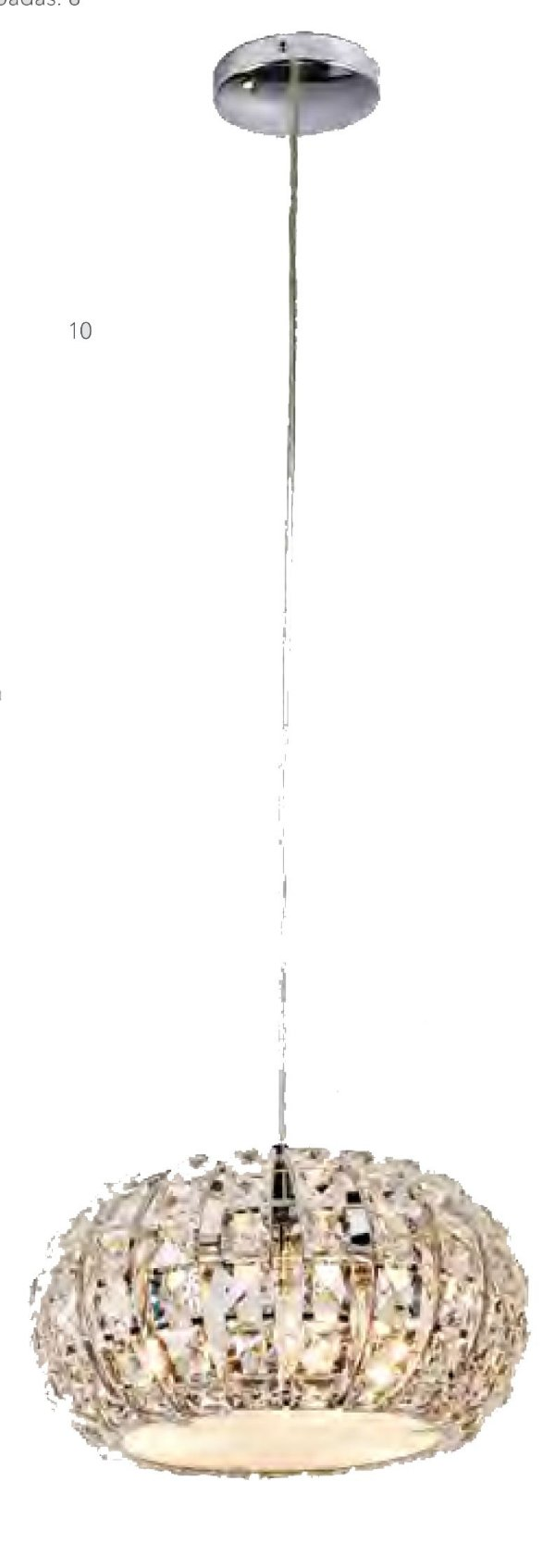 PENDENTE Bella Ilumy HO2024P VIENNA Cristal Lapidado Redondo Cromado Transparente 24CM 3XG9