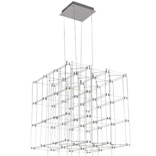 PENDENTE Bella Ilumy JJ007 SKY Quadrado Moderno Aramado Cromado Transparente 58cm x 55cm x 58cm  64 x LED 0,2W