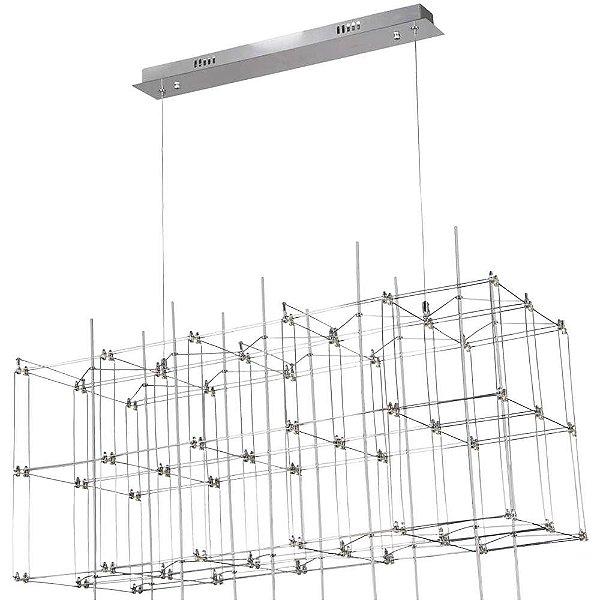 PENDENTE Bella Ilumy JJ008 SKY Retangular Moderno Aramado Cromado Transparente 91cm x 41cm x 40cm  54 x LED 0,2W