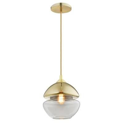PENDENTE Bella Ilumy KB007 SEI Vertical Vidro Moderno Dourado Transparente  21cm x 20cm  1xE27 BIVOLT
