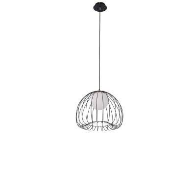 PENDENTE Bella Ilumy ML005B LAMP Aramado Preto Branco 50cm x 41cm  1xG9 BIVOLT