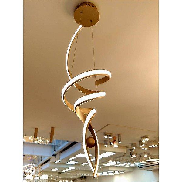 PENDENTE Bella Ilumy RE005 FLUIRE Hastes de Led Moderno DOURADO 28cm x 74cm  LED 30 W