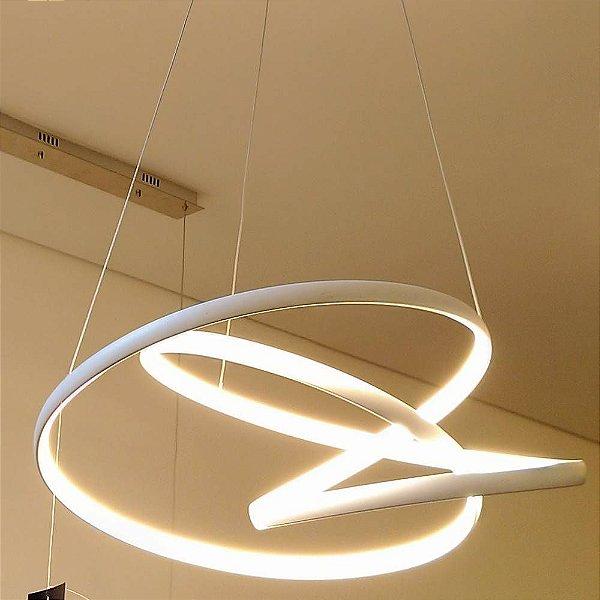 PENDENTE Bella Ilumy TP001 ZIG BRANCO Aros Led Moderno 57cm x 47cm x 26cm  1 x LED 70W