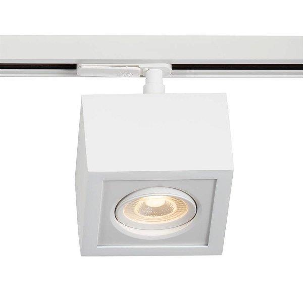 Spot Trilho Newline NLN 561AB BOX LED Quadrado Clean 5W 3000K Luz Quente 375LM 127/220V 115X115X114MM ADAPTADOR BRANCO
