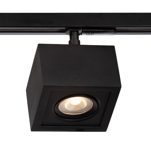 Spot Trilho Newline NLN 561AP BOX LED Quadrado Clean 5W 3000K Luz Quente 375LM 127/220V 115X115X114MM ADAPTADOR PRETO