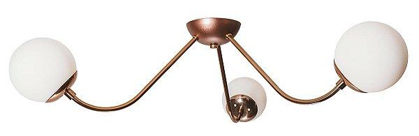 Plafon Sobrepor AURA 16555/3 Usina Iluminação Vintage com GLOBO DE VIDRO  Ø120mm X Ø73,5x17,5CM X 3 - G9