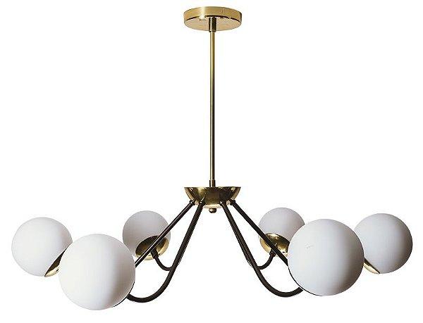 PENDENTE AURA 16556/6 Usina Iluminação Com HASTE Vintage com GLOBO DE VIDRO  Ø12cm x Ø73,5x55cm x 6 G9