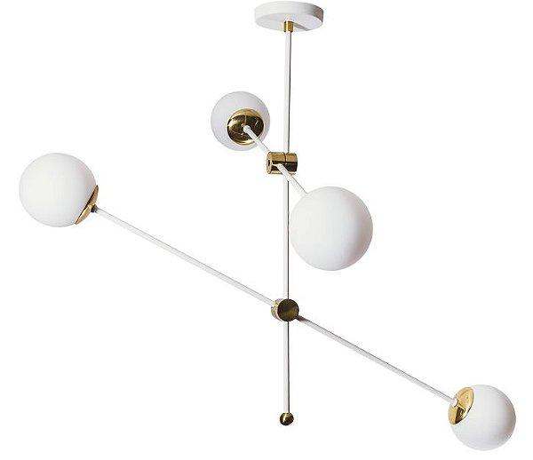 PENDENTE BALTICO  16501/4 Usina Iluminação  Moderno com GLOBO DE VIDRO x Ø12cm x Ø95X67X1m x 4 G9