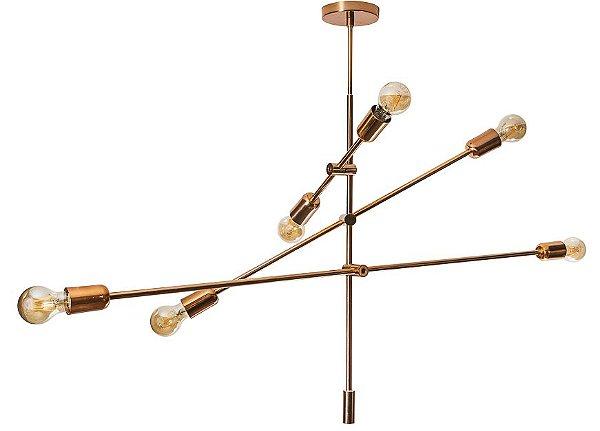 PENDENTE BLOSS Usina Iluminação 16448/6 Moderno (Haste 67cm) x Ø1mX67X1m x 6 - E27 (filamento)
