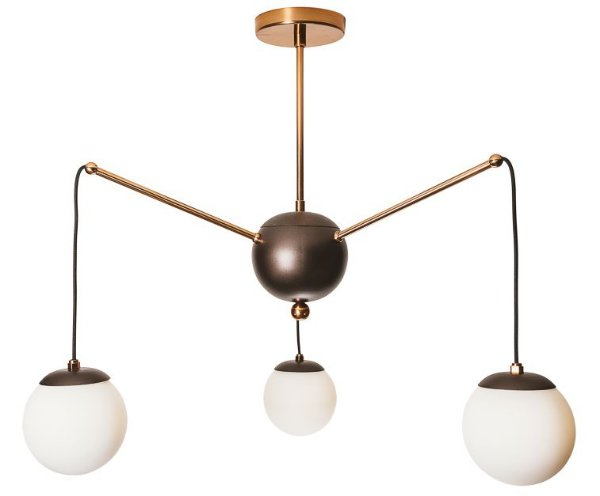 PENDENTE CHARM Usina Iluminação 16535/3 Triplo Moderno com GLOBOS 12cm (c/ haste) x Ø65x58cm x 3 - G9