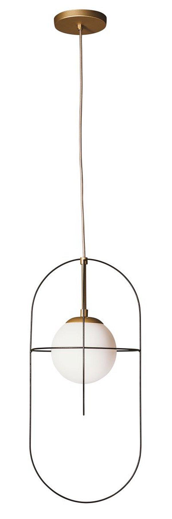 PENDENTE ELUS 17155/1 Usina Iluminação Moderno Aramado com GLOBO DE VIDRO Ø14cm x Ø24x51x1m x 1-E27 - G45