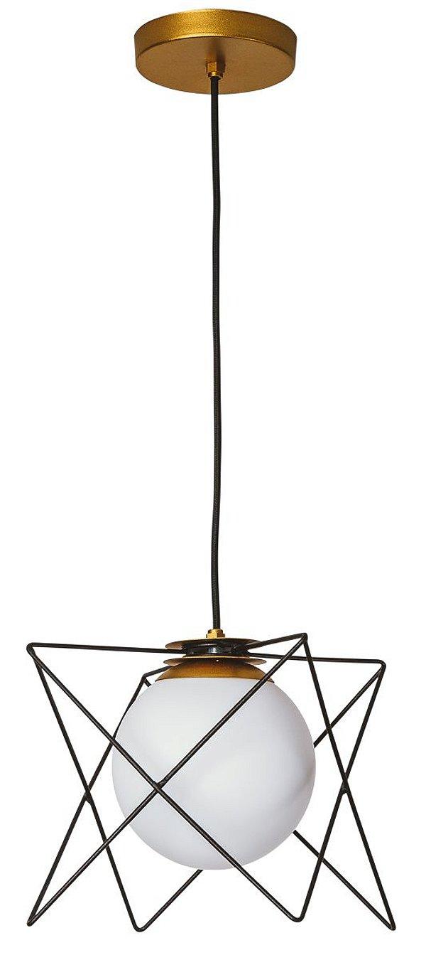 PENDENTE FENCE 17180/1 Usina Iluminação Aramado Com Globo de Vidro Moderno x 19x19x20x 1m cabo x 2-E27 - G45