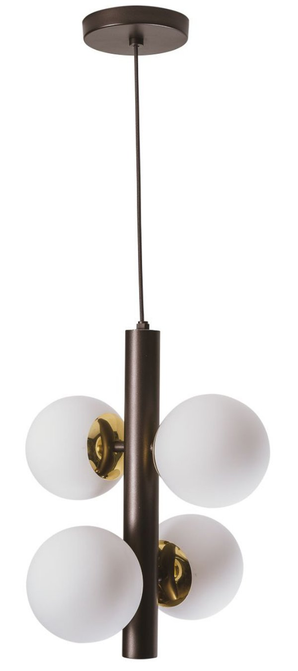 PENDENTE PÉROLA GLOBOS VIDROS 12cm 16541/4 (Vertical) Usina Iluminação Haste Moderno  x Ø32x35 x 1m x 4 - G9