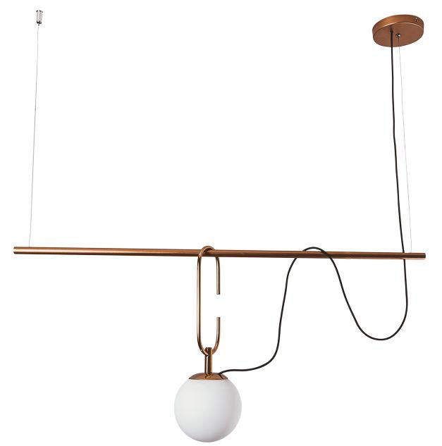 Pendente Usina Iluminação QUIRON 16606/1 GANCHO 23cm HASTE Linear 55cm Moderno Globo de Vidro x 55 x 14 x 40 x1m x 01 - E27