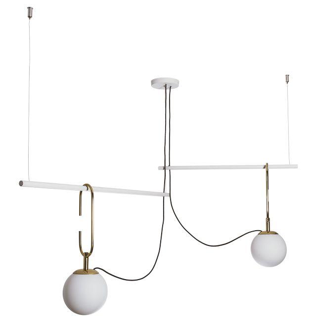 Pendente Usina Iluminação QUIRON 16606/2 GANCHO 23cm HASTE Linear 55cm Moderno Globo de Vidro x 59 x 59 x 40 x 1m x 02 - E27