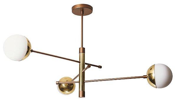 PENDENTE SATÉLITE 16444/3 Usina Iluminação Triplo GLOBO Vidro Ø12cm (Haste 265mm) x Ø660x510x505 x 3 - G9