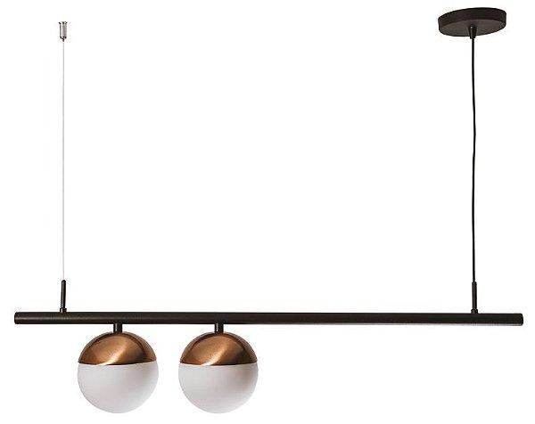 PENDENTE SNOOKER 16570/2 Usina Iluminação Haste Com 2 GLOBOS DE VIDRO Ø14cm x 14 x 87,5 x 24,5 x 1m Cabo x 02 - E27 G45
