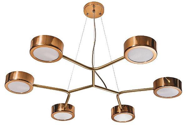 PENDENTE SPINNER 16581/6 Usina Iluminação Moderno Hastes Suspenso x Ø84 x 47 x 1m x 6 Lampadas G9