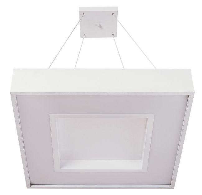 Pendente Usina Iluminação MEG LED Quadrado Difusor ACRÍLICO Ilum. Direta Indireta x 36x36x1m cabo x LED24,4W 4000K/BIVOLT 19031/36 LED4