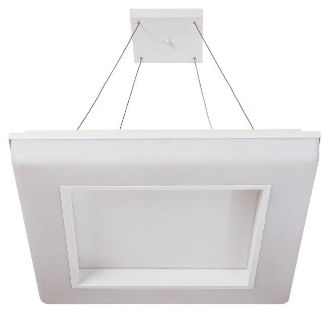 Pendente VIVAZ 19021/46 LED3 Usina Iluminação LED 3000k Difusor Acrilico Quadrado Ilum. Direta Indireta x 460x460x1000 x LED36,8W 3000K/BIVOLT
