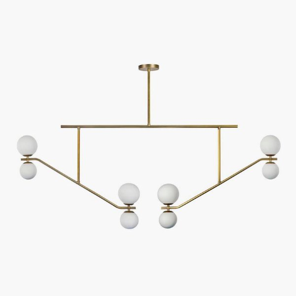 Pendente Golden Art T1865-8 ESCORREGADOR Duplo Esfera de Vidro Moderna  8 SOQ. G9 8xG-9 147 cm