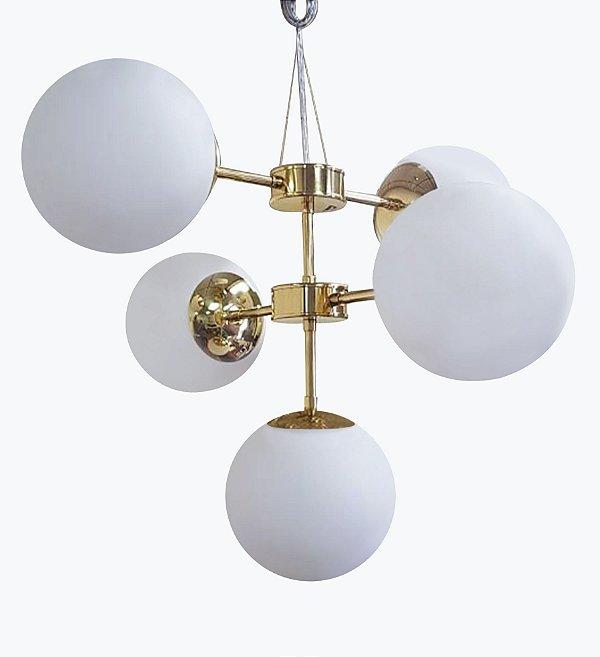 Lustre BALLS Golden Art T2050-5 Haste Vertical Esfera Vidro Moderno 5xE27