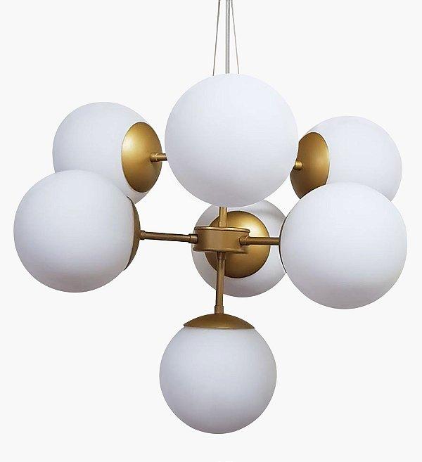 Lustre BALLS Golden Art T2050-7 Haste Vertical Esfera Vidro Moderno  7xE27