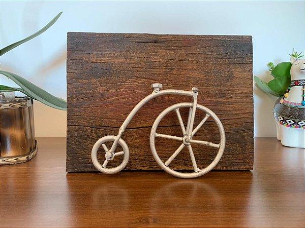 Quadro bicicleta madeira demolição - Prata