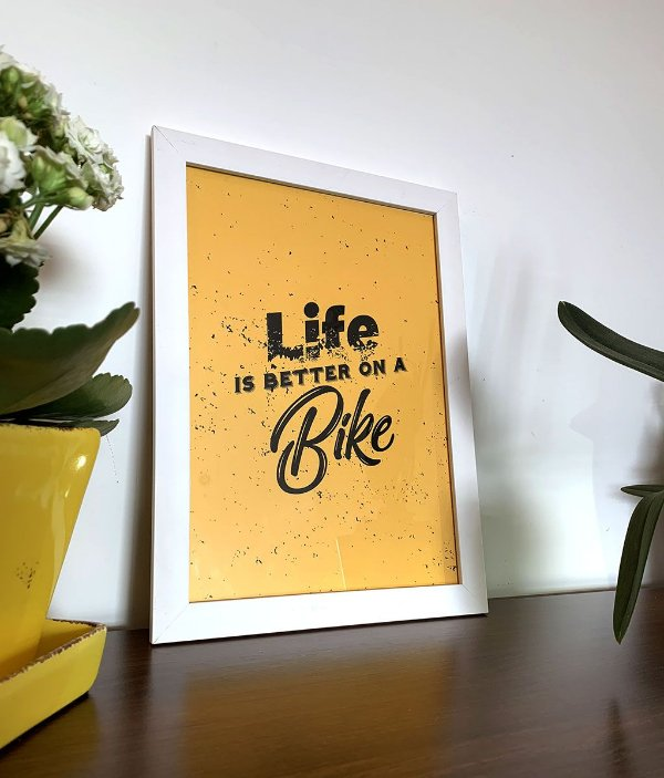 Quadro decorativo Life in better on a bike