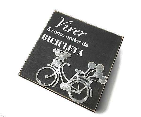 Caixa artesanal Viver é como andar de bicicleta na cor preta | Pedalemos