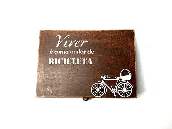 Caixa artesanal cor marrom + mini bike