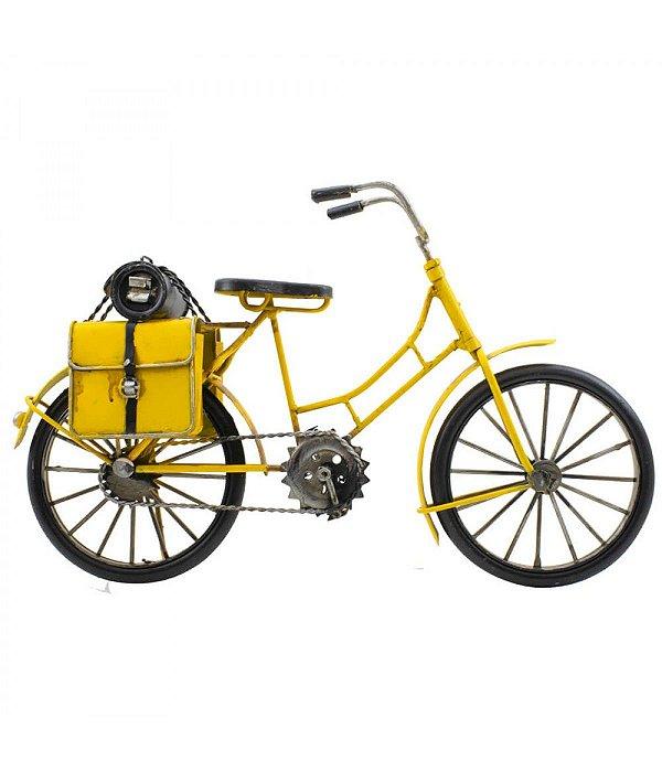 Miniatura Bicicleta antiga amarela com 2 bolsas
