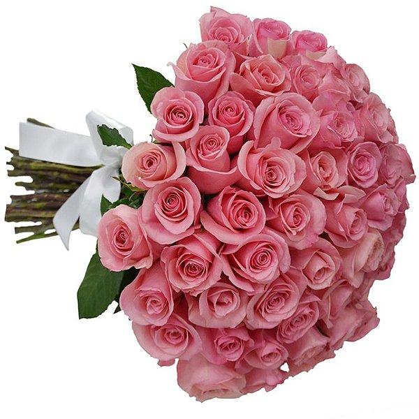 Hiper Buquê de Rosas com 60 Rosas Cor de Rosa