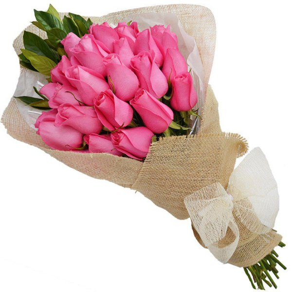 Buquê Rustico com 20 Rosas Cor de Rosa