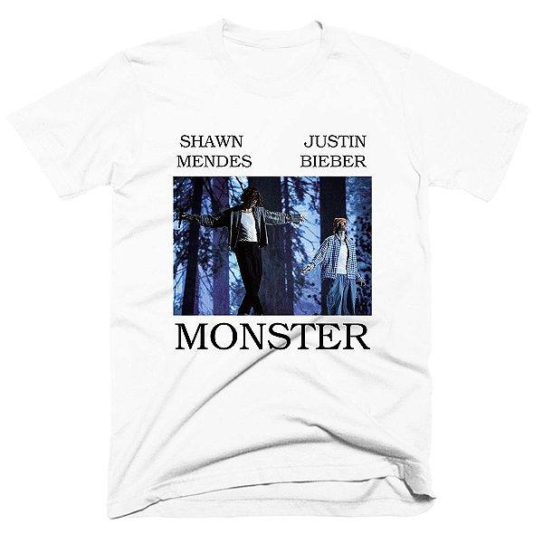 Camiseta Shawn Mendes e Justin Bieber - Monster