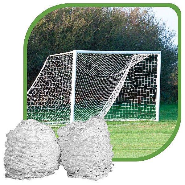 Par de Rede para Trave de Gol Futebol de Campo Fio 8mm Tipo Véu Seda