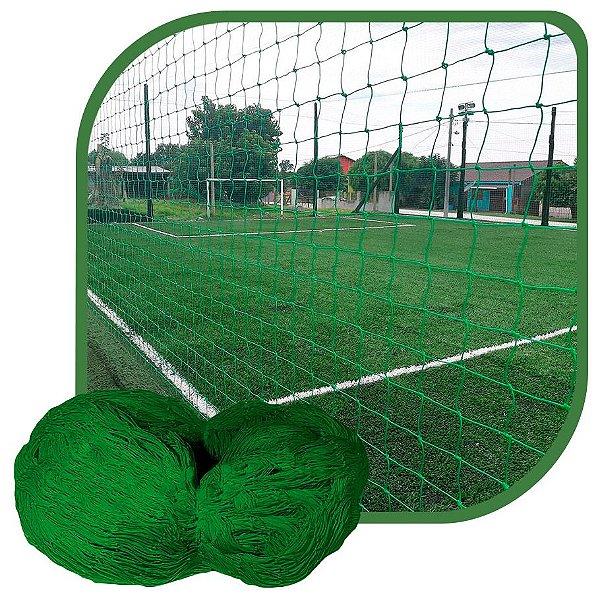 Rede de Proteção Esportiva Para Campo/Quadra de Futsal, Futebol, Society 2x25m Fio 4 Malha 12cm Verde