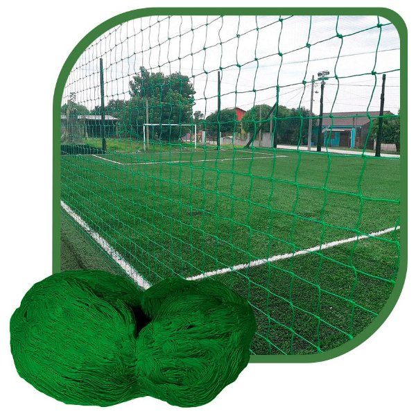 Rede de Proteção Esportiva Para Campo/Quadra de Futsal, Futebol, Society 4x45m Fio 4 Malha 12cm Verde