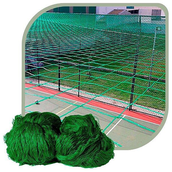 Rede de Proteção Esportiva Para Campo/Quadra de Futsal, Futebol, Society 20x40m Fio 2 Malha 12cm Verde