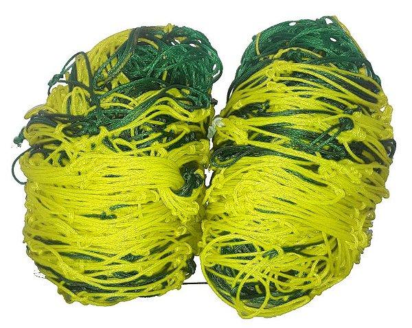 Par Rede Gol Society Suiço 4mts Véu Fio 4mm Caixote Nylon Verde e Amarelo