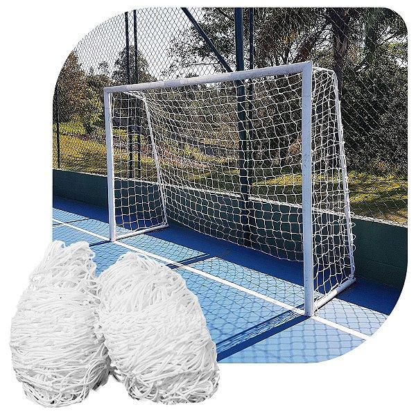 Par de Rede para Trave de Gol Futsal Fio 4mm Nylon Futebol de Salão