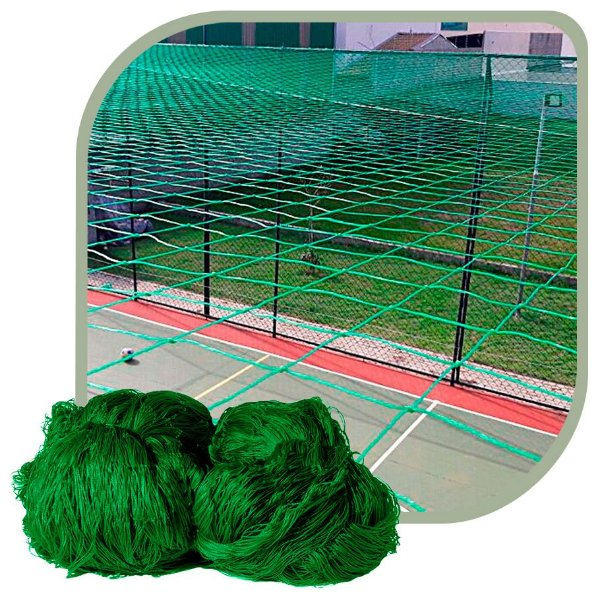Rede de Proteção Esportiva Para Campo/Quadra de Futebol, Society 24x42m Fio 2 Malha 15cm Verde