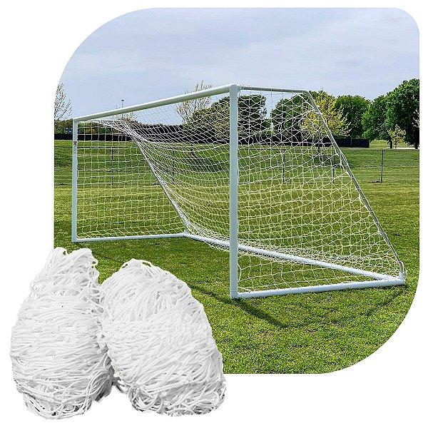 Par de Rede para Trave de Gol Futebol de Campo Fio 4mm Tipo Véu Nylon