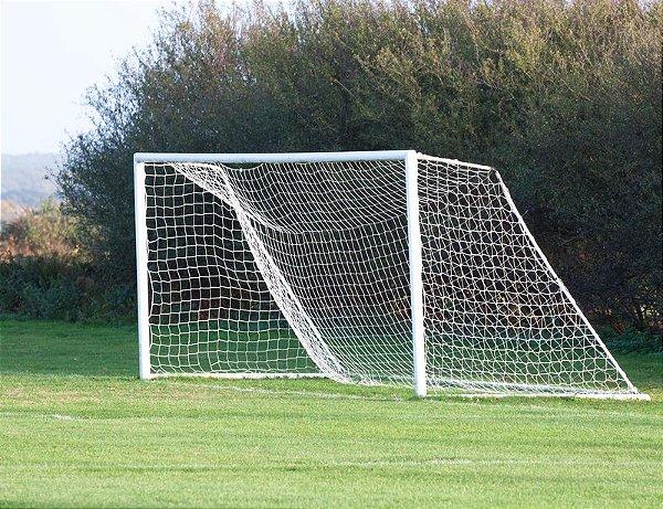 Par de Rede Trave de Gol Futebol de Campo Fio 6mm Tipo Véu Nylon