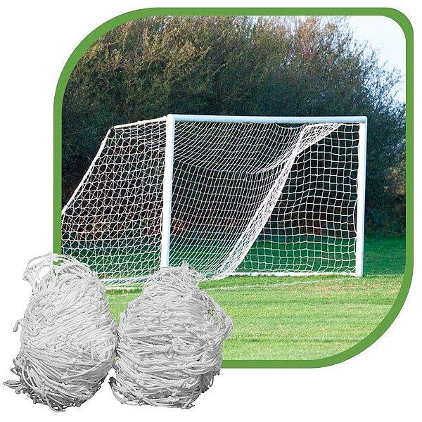 Par de Rede para Trave de Gol Futebol de Campo Fio 6mm Tipo Véu Nylon