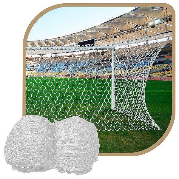 Par de Rede para Trave de Gol Futebol de Campo Tipo México Colmeia Fio 4mm Seda